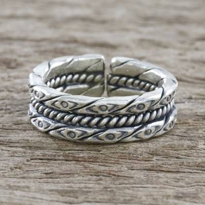 silver criss cross ring value - Handmade Unisex Sterling Silver Wrap Ring from Thailand