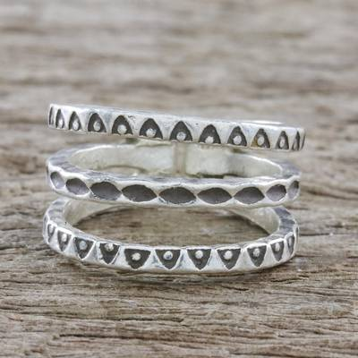 monogram ring silver - Handmade Sterling Silver Wrap Ring from Thailand