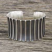 Sterling silver cuff bracelet, 'Contemporary Charm' - Handmade Sterling Silver Thai Hill Tribe Cuff Bracelet