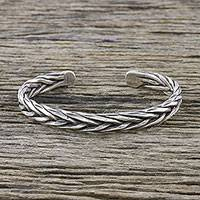 Sterling silver cuff bracelet, 'Charismatic' - Handmade Sterling Silver Thai Hill Tribe Cuff Bracelet