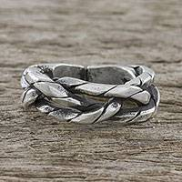 Sterling silver wrap ring, 'Chiang Mai Cachet' - Handmade Sterling Silver Thai Hill Tribe Wrap Ring
