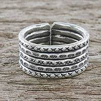 Sterling silver wrap ring, 'Mark of Chiang Mai' - Handmade Sterling Silver Thai Hill Tribe Geometric Wrap Ring