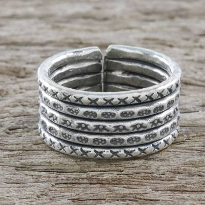 diamond l necklace - Handmade Sterling Silver Thai Hill Tribe Geometric Wrap Ring