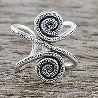 Sterling silver wrap ring, 'Silver Seaway' - Handmade Sterling Silver Thai Hill Tribe Swirl Wrap Ring