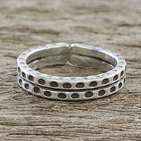 Sterling silver wrap ring, 'Silver Stipple' - Handmade Sterling Silver Thai Hill Tribe Geometric Wrap Ring