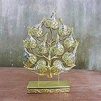 Wood and glass sculpture, 'Sacred Bodhi Tree' - Handmade Raintree Wood Glass Bodhi Tree Carving Sculpture