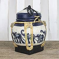 Bamboo decorative jar, 'Elephant Dance' - Handmade Thai Black and White Decorative Elephant Jar