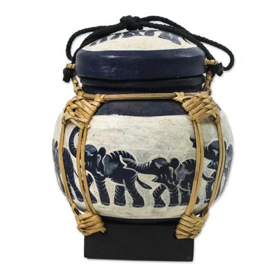 Handmade Thai Black and White Decorative Elephant Jar