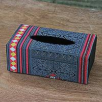 Cotton tissue box cover, 'Hill Tribe Relaxation' - Handmade Thai Patterned Cotton Tissue Box Cover