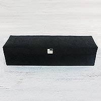 Velvet watch box, 'Velvet Luxury' - Handmade Black Velvet Watch Box from Thailand