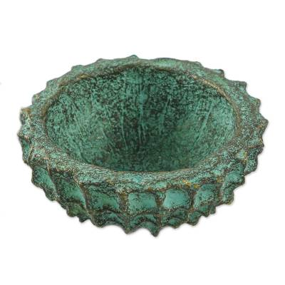Handcrafted Decorative Bowl in Green from Thailand