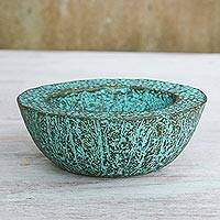 Recycled paper decorative bowl, 'Ocean Green' - Green Recycled Paper Decorative Bowl from Thailand