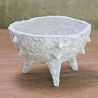 Coconut shell decorative bowl, 'Spiky Chalice' - Spiky Coconut Shell Decorative Bowl from Thailand