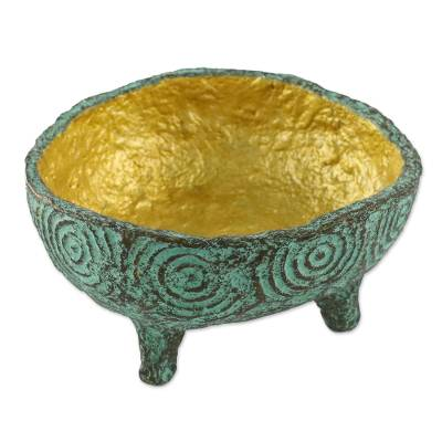 Coconut Shell Decorative Bowl in Green from Thailand