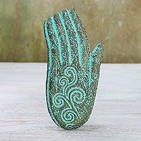 Recycled paper relief panel, 'Friendly Wave' - Hand-Shaped Recycled Paper Relief Panel from Thailand