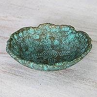 Recycled paper decorative bowl, 'Exotic Ocean' - Artisan Crafted Recycled Paper Decorative Bowl from Thailand