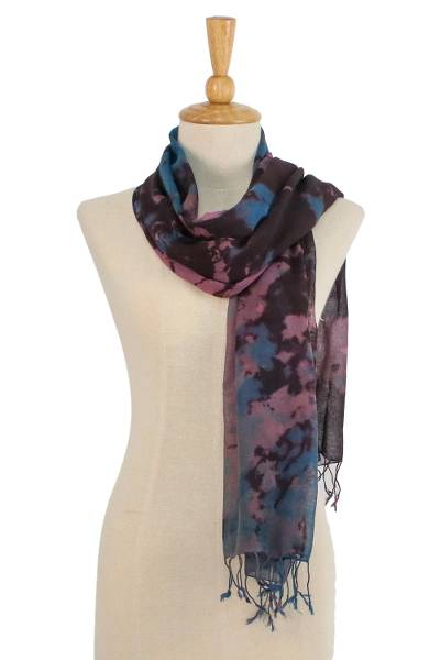 Tie-dyed cotton scarf, 'Artistic Colors' - Tie-Dyed Multicolored Cotton Wrap Scarf from Thailand
