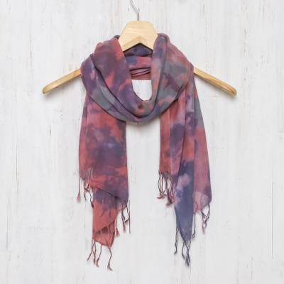 Tie-dyed cotton scarf, 'Fantastic Colors' - Tied-Dyed Cotton Wrap Scarf in Pink and Purple from Thailand