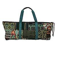 Cotton blend yoga bag, 'Om in Green' - Handmade Cotton Blend Yoga Bag Green Made in Thailand