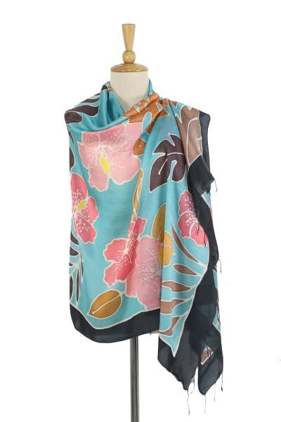 Silk batik shawl, 'Tropical Dream' - 100% Silk Hand Dyed Pink on Blue Hibiscus Print Shawl