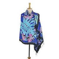 Silk batik shawl, 'Tropical Luxury' - Thai Batik Silk Shawl with Tropical Motifs