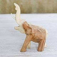 Wood statuette, 'Wild Life' - Handmade Raintree Wood Elephant Statuette from Thailand