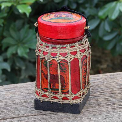 Ceramic decorative jar, 'Lanna Antique in Red' - Handmade Ceramic Red Decorative Jar from Thailand