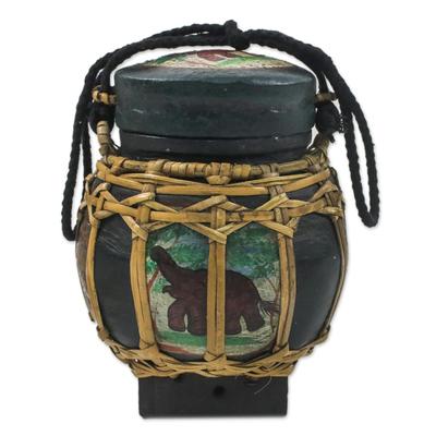 Handmade Green Elephant Decorative Jar from Thailand