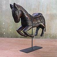 Wood statuette, 'Riding Horse' - Handmade Wood Horse Statuette from Thailand
