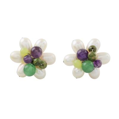 Cultured Pearl and Multi-Gemstone Flower Button Earrings