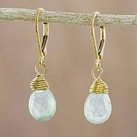 Gold plated prehnite dangle earrings, 'Grand Treasure' - Handmade 18k Gold Plated Prehnite Dangle Earrings