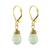 Gold plated prehnite dangle earrings, 'Grand Treasure' - Handmade 18k Gold Plated Prehnite Dangle Earrings (image 2a) thumbail