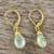 Gold plated prehnite dangle earrings, 'Grand Treasure' - Handmade 18k Gold Plated Prehnite Dangle Earrings (image 2b) thumbail