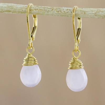 Gold plated chalcedony dangle earrings, 'Grand Treasure in Pink' - Handmade 18k Gold Plated Pink Chalcedony Dangle Earrings