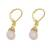 Gold plated chalcedony dangle earrings, 'Grand Treasure in Pink' - Handmade 18k Gold Plated Pink Chalcedony Dangle Earrings (image 2c) thumbail