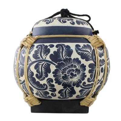 Decorative Handmade Blue Bamboo Jar from Thailand