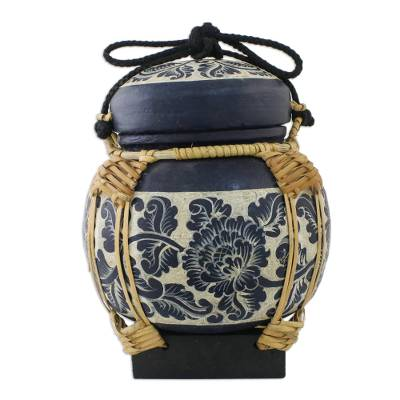Handmade Decorative Blue Jar Crafted in Thailand