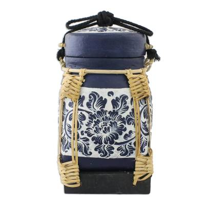 Decorative Handmade Floral Jar Bamboo Cotton Cord