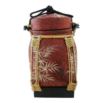 Hand-Painted Thai Decorative Jar with Bamboo Trim