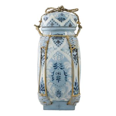 Handmade Blue and White Ceramic Decorative Thai Jar