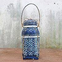 Decorative ceramic and bamboo jar, 'Blue Thai Lagoon' - Blue and White Traditional Thai Decorative Jar in Ceramic