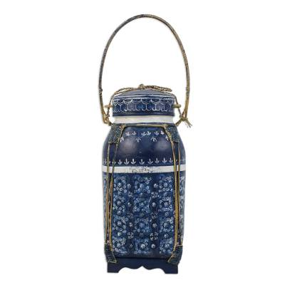 Blue and White Traditional Thai Decorative Jar in Ceramic