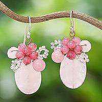 Quartz beaded cluster earrings, 'Blossom Blush' - Handmade Pink Quartz Beaded Cluster Earrings from Thailand