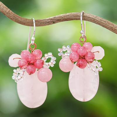 Quartz beaded dangle earrings, 'Blossom Blush' - Handmade Pink Quartz Beaded Dangle Earrings from Thailand