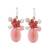 Quartz beaded dangle earrings, 'Blossom Blush' - Handmade Pink Quartz Beaded Dangle Earrings from Thailand (image 2a) thumbail