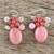 Quartz beaded dangle earrings, 'Blossom Blush' - Handmade Pink Quartz Beaded Dangle Earrings from Thailand (image 2b) thumbail