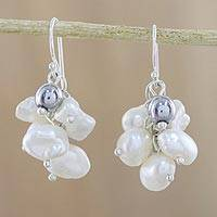 Cultured pearl and hematite cluster earrings,