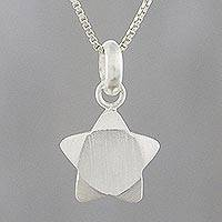 Sterling silver pendant necklace, 'Charming Star' - Handmade 925 Sterling Silver Star Pendant Necklace Thailand