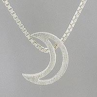 Sterling silver pendant necklace, 'Waxing Crescent' - Handmade 925 Sterling Silver Lunar Moon Pendant Necklace