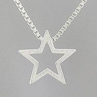 Sterling silver pendant necklace, 'Glitzy Star' - 925 Sterling Silver Star Necklace Handcrafted in Thailand